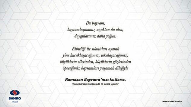 SANKO HOLDİNG RAMAZAN BAYRAMINI KUTLADI